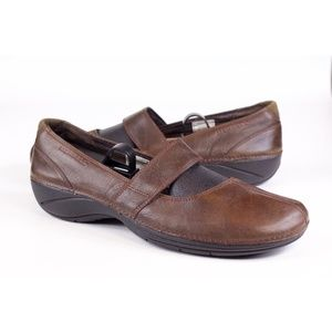 Merrell OrthoLite Brown Slip On Mary Jane Flats 10